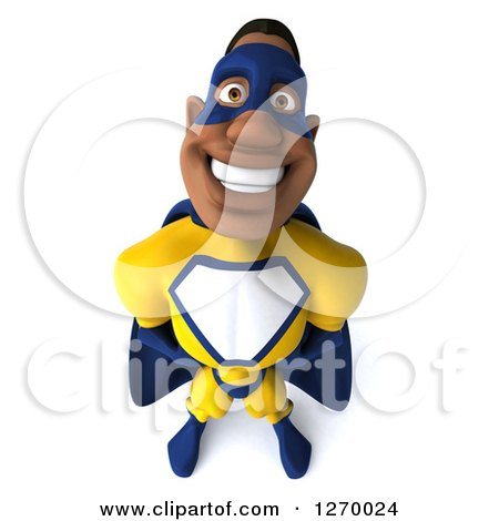 Clipart of a 3d Black Super Hero Man in a Blue and Yellow Costume, Looking up and Smiling - Royalty Free Illustration by Julos