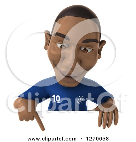 Clipart of a 3d Black French Soccer Player Pointing down over a Sign - Royalty Free Illustration by Julos