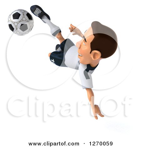 Clipart of a 3d White German Soccer Player Catching Air and Kicking a Soccer Ball - Royalty Free Illustration by Julos