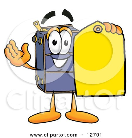 Clipart Picture of a Suitcase Cartoon Character Holding a Yellow Sales Price Tag by Toons4Biz