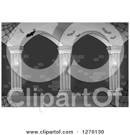 Clipart of a Grayscale Haunted Hallway with Spider Webs Sconces and Bats - Royalty Free Vector Illustration by visekart