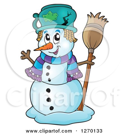 Clipart of a Happy Waving Snowman with a Broom and Broken Pot Hat - Royalty Free Vector Illustration by visekart