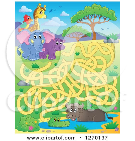 Clipart of an African Animal Watering Hole and Coral Maze Game - Royalty Free Vector Illustration by visekart
