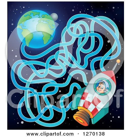 Clipart of a Boy Astronaut in a Rocket and Earth Maze Game - Royalty Free Vector Illustration by visekart