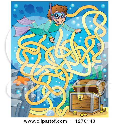 Clipart of a Snorkel Boy and Sunken Treasure Maze Game - Royalty Free Vector Illustration by visekart