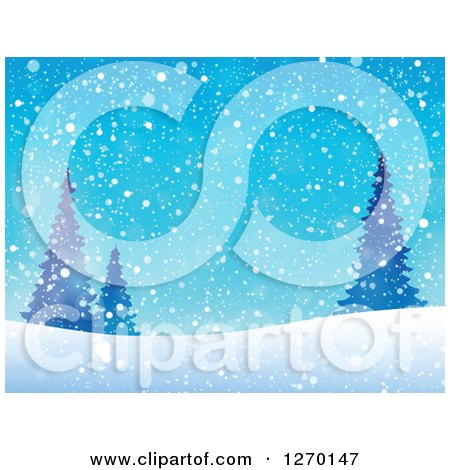 Clipart of a Blue Christmas Snow, Evergreen and Hill Background - Royalty Free Vector Illustration by visekart