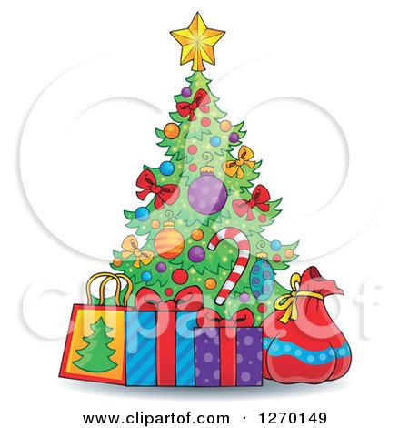 Clipart of a Cartoon Christmas Tree with Gift Bags a Sack and Present - Royalty Free Vector Illustration by visekart