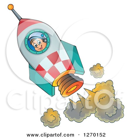 Clipart of a Happy Astronaut Flying in a Rocket - Royalty Free Vector Illustration by visekart