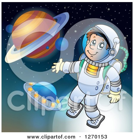 Clipart of a Happy Astronaut Doing a Space Walk over Planets and a Ufo - Royalty Free Vector Illustration by visekart