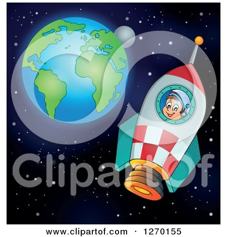 Clipart of a Happy Astronaut Flying in a Rocket with Earth and the Moon in the Distance - Royalty Free Vector Illustration by visekart