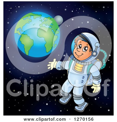 Clipart of a Happy Astronaut Doing a Space Walk with Earth in the Distance - Royalty Free Vector Illustration by visekart