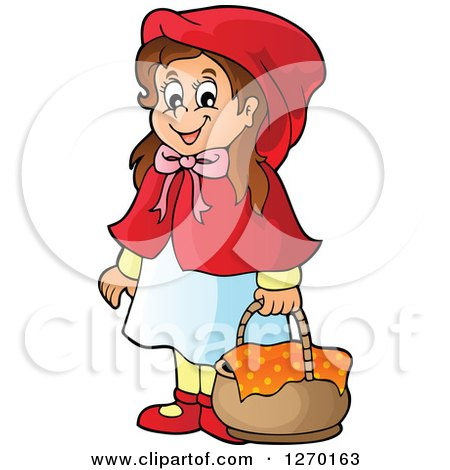 Clipart of a Happy Little Red Riding Hood with a Basket - Royalty Free Vector Illustration by visekart