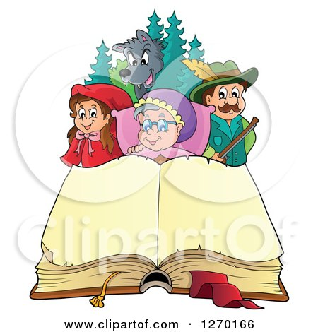 Clipart of a Little Red Riding Hood Open Book and Characters - Royalty Free Vector Illustration by visekart