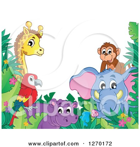 Clipart of a Happy Monkey, Elephant, Hippo, Parrot, and Giraffe with Jungle Foliage - Royalty Free Vector Illustration by visekart