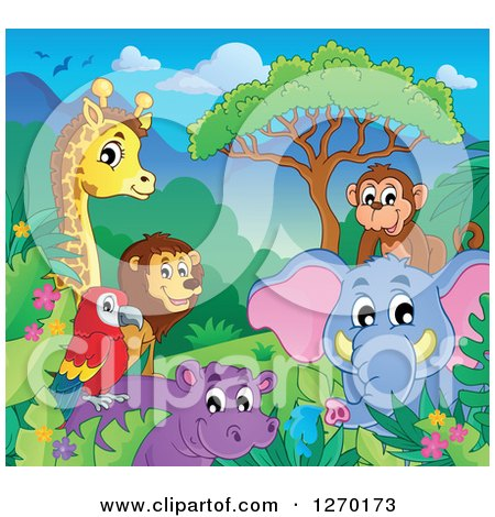 Clipart of a Happy Monkey, Elephant, Hippo, Parrot, Lion and Giraffe on a Sunny Day - Royalty Free Vector Illustration by visekart