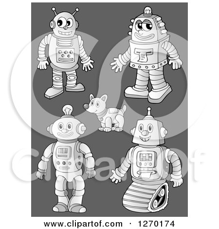 Clipart of Grayscale Robots and Dogs over Gray - Royalty Free Vector Illustration by visekart