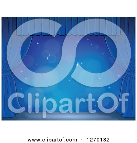 Clipart of a Stage with Sparkles, a Blue Backdrop and Curtains - Royalty Free Vector Illustration by visekart