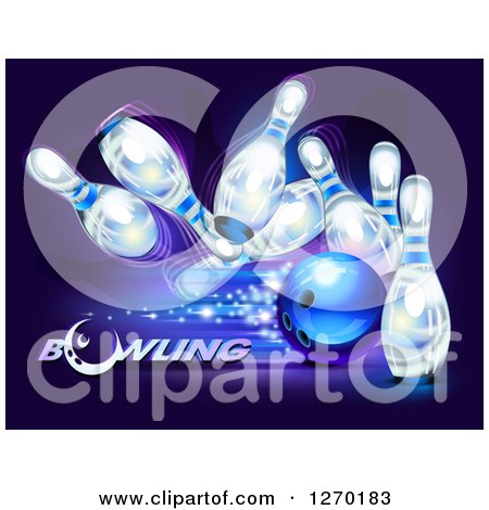 Clipart of a 3d Blue Ball Crashing into White Pins with Sparkles over Purple and Text - Royalty Free Vector Illustration by Oligo