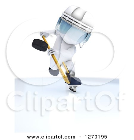 Clipart of a 3d White Man in Profile, Hiting a Hockey Puck Forward - Royalty Free Illustration by KJ Pargeter