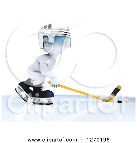 Clipart of a 3d White Man in Profile, Playing Hockey - Royalty Free Illustration by KJ Pargeter