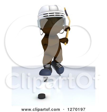 Clipart of a 3d Brown Man Swinging a Hockey Stick at a Puck - Royalty Free Illustration by KJ Pargeter