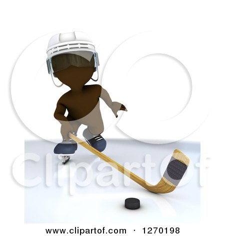 Clipart of a 3d Brown Man Hockey Player in Action - Royalty Free Illustration by KJ Pargeter