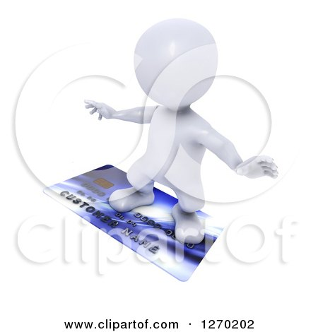 Clipart of a 3d White Man Surfing on a Credit Card - Royalty Free Illustration by KJ Pargeter