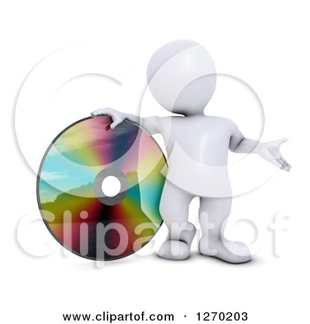 Clipart of a 3d White Man Presenting and Standing with a Giant CD, DVD or Blu Ray Disk - Royalty Free Illustration by KJ Pargeter