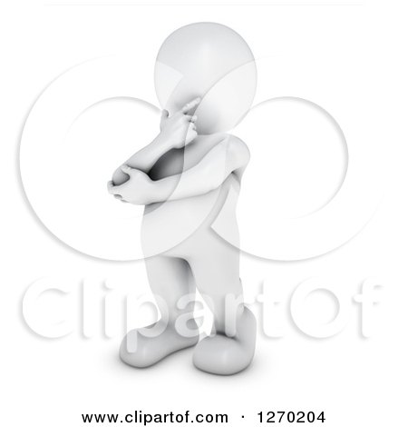 Clipart of a 3d White Man Standing in Thought - Royalty Free Illustration by KJ Pargeter