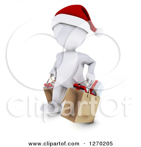 Clipart of a 3d White Man Wearing a Santa Hat and Christmas Shopping - Royalty Free Illustration by KJ Pargeter