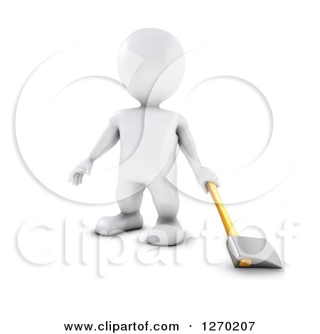 Clipart of a 3d White Man Standing with an Axe - Royalty Free Illustration by KJ Pargeter