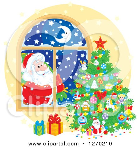 Clipart of a Christmas Santa Claus Looking in at a Tree Through a Window - Royalty Free Vector Illustration by Alex Bannykh
