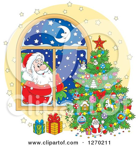 Clipart of Santa Claus Looking in at a Christmas Tree Through a Window - Royalty Free Vector Illustration by Alex Bannykh