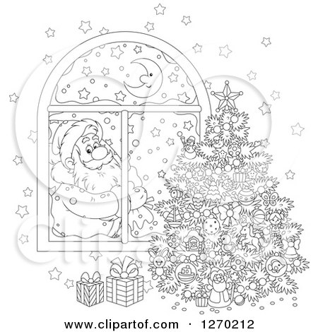 Clipart of a Black and White Christmas Santa Claus Looking in at a Tree Through a Window - Royalty Free Vector Illustration by Alex Bannykh