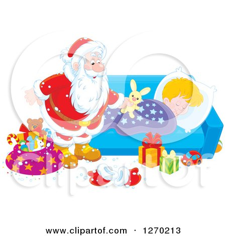 Clipart of a Christmas Santa Claus Leaving a Stuffed Rabbit on a Blond Caucasian Sleeping Boy's Bed - Royalty Free Vector Illustration by Alex Bannykh