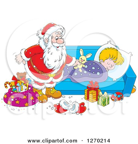 Clipart of a Christmas Santa Claus Leaving a Stuffed Rabbit on a Blond White Sleeping Boy's Bed - Royalty Free Vector Illustration by Alex Bannykh