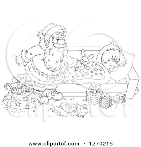 Clipart of a Black and White Christmas Santa Claus Leaving a Stuffed ...