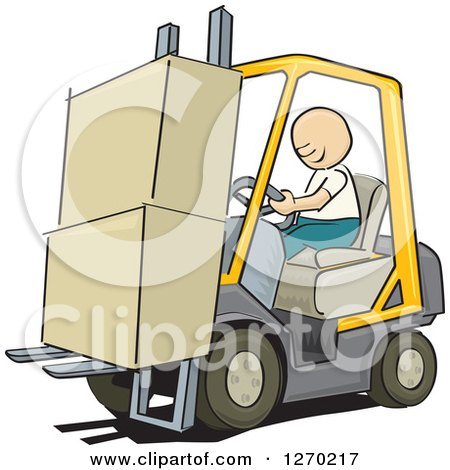 Clipart of a Sketched White Man Driving a Forklift with Boxes - Royalty Free Vector Illustration by David Rey