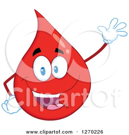 Clipart of a Happy Blood or Hot Water Drop Waving - Royalty Free Vector Illustration by Hit Toon