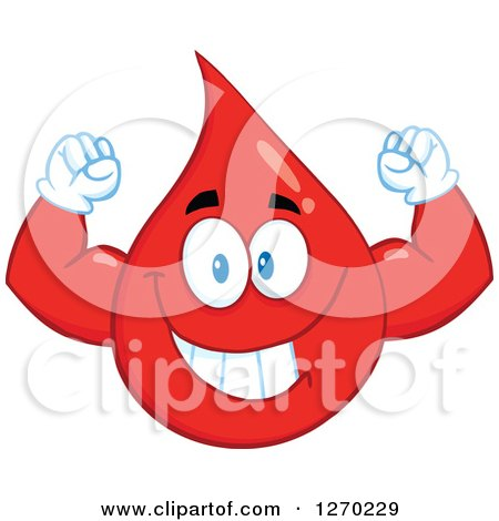 Clipart of a Happy Blood or Hot Water Drop Flexing His Muscles - Royalty Free Vector Illustration by Hit Toon