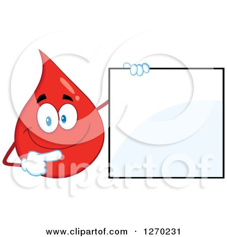 Clipart of a Happy Blood or Hot Water Drop Holding and Pointing to a Blank Sign - Royalty Free Vector Illustration by Hit Toon