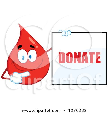 Clipart of a Happy Blood or Hot Water Drop Holding and Pointing to a Donate Sign - Royalty Free Vector Illustration by Hit Toon