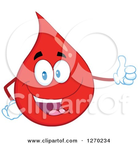Clipart of a Happy Blood or Hot Water Drop Giving a Thumb up - Royalty Free Vector Illustration by Hit Toon