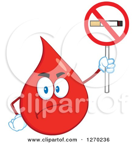 Clipart of a Mad Blood or Hot Water Drop Holding up a No Smoking Sign - Royalty Free Vector Illustration by Hit Toon