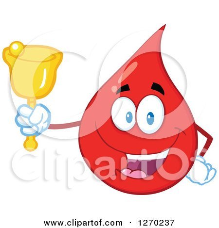 Clipart of a Happy Blood or Hot Water Drop Ringing a Donation Bell - Royalty Free Vector Illustration by Hit Toon