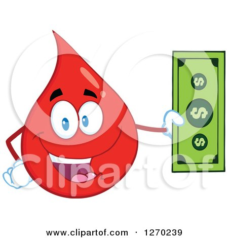 Clipart of a Happy Blood or Hot Water Drop Holding Cash Money - Royalty Free Vector Illustration by Hit Toon