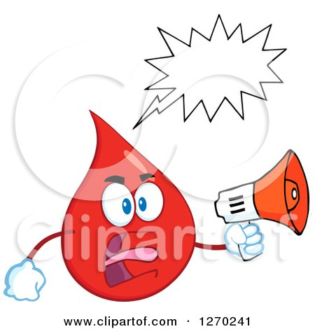 Clipart of a Blood or Hot Water Drop Screaming into an Announcement Megaphone - Royalty Free Vector Illustration by Hit Toon