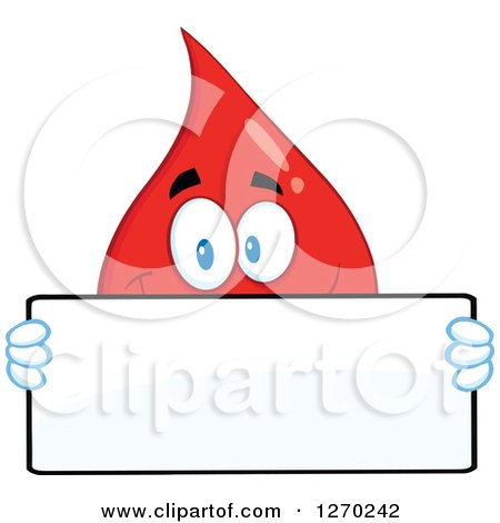 Clipart of a Happy Blood or Hot Water Drop Holding a Blank Sign over His Face - Royalty Free Vector Illustration by Hit Toon