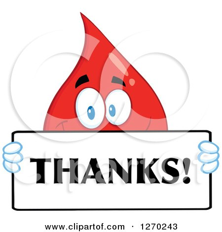 Clipart of a Happy Blood or Hot Water Drop Holding a Thanks Sign - Royalty Free Vector Illustration by Hit Toon