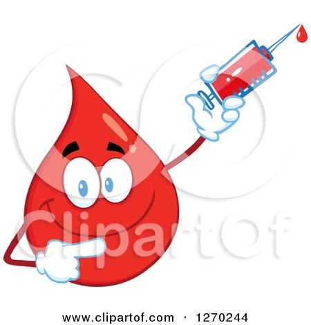 Clipart of a Happy Blood or Hot Water Drop Pointing and Holding up a Syringe - Royalty Free Vector Illustration by Hit Toon